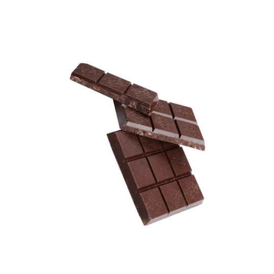 Tablette de chocolat noir avec gemmes de fèves